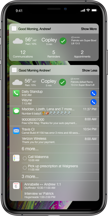 A condensed version would show some aggregated information from Apple's productivity apps, along with some main complications that could possibly be user-configurable. An expanded version could have actions and even live-update as you return messages or check off TODOs, to help you get to Good Morning Zero.