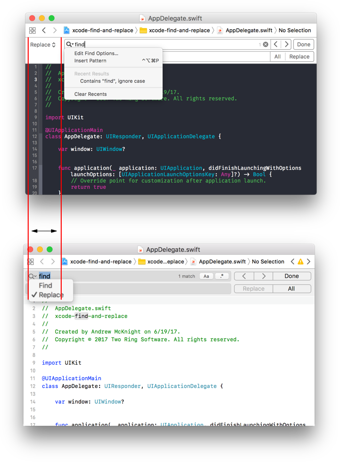 The new magnifying glass dropdown saves space in Xcode 9 (bottom) compared to Xcode 8 (top).