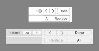 The right button cluster from Xcode 8 (top) and Xcode 9 (bottom).
