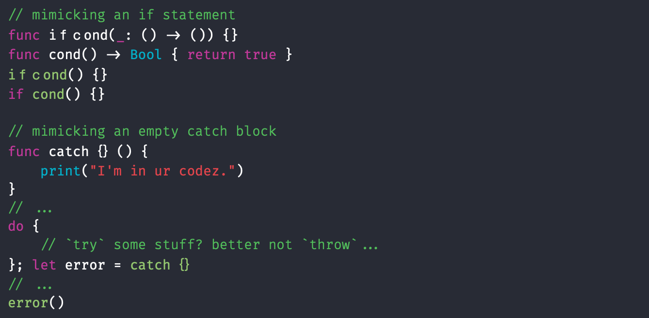 Oh no he didn't use an empty catch block as an example!