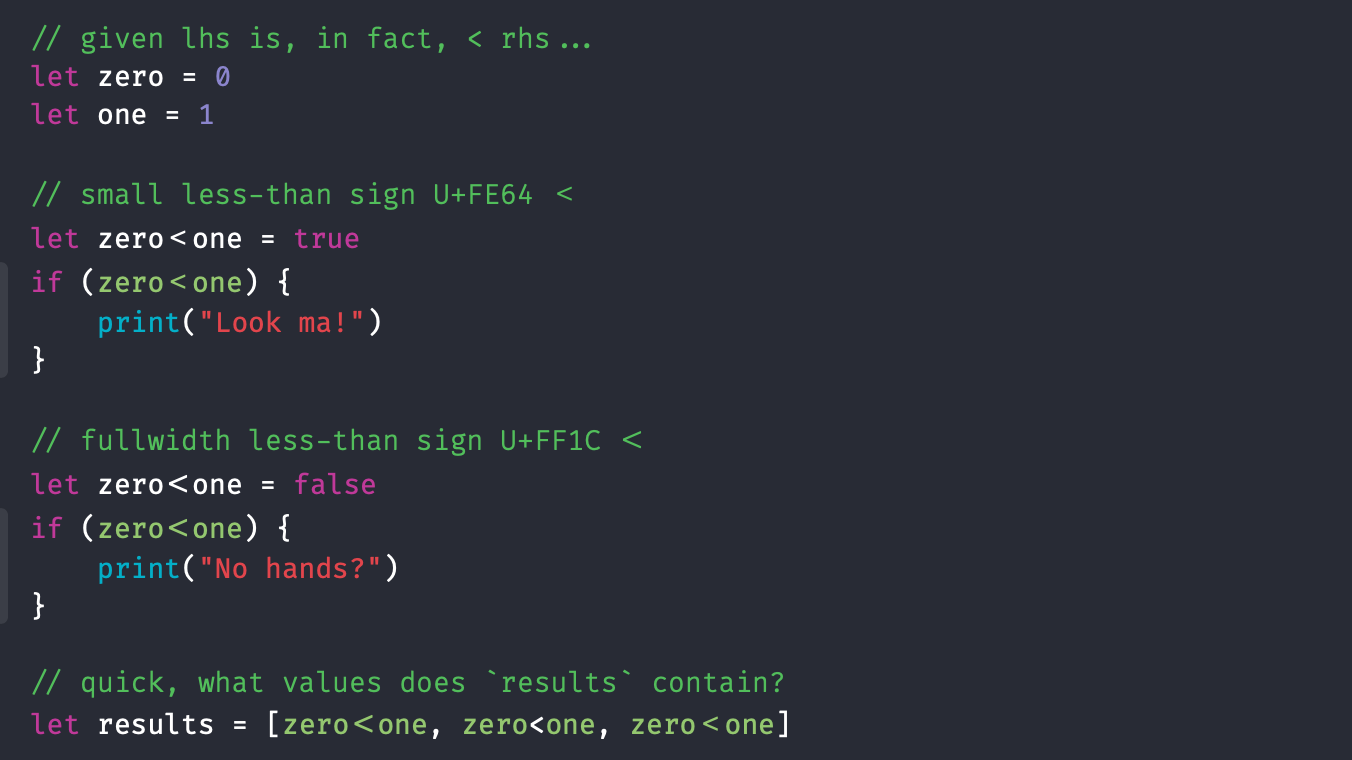 Two Ring Software % Blog % Fun with Unicode in Swift % 10